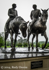 "The statue calls Joseph Smith a ""prophet,"" and also shows brother Hyrum Smith. Both were killed by a mob in nearby Carthage, Ill., in 1844, and this statue celebrates their final ride there."