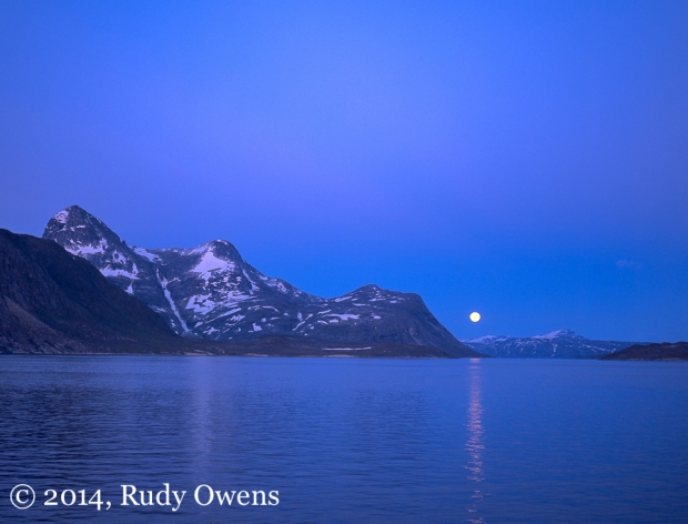 Full moon rising on a summer night near Nuuk, capital of Greenland (1998)