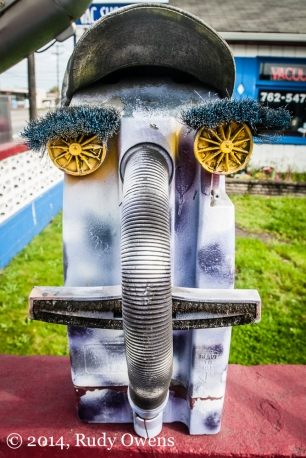 One of several art pieces made from vacuum cleaner parts decorates the Vac Shop, in south Seattle (2014).