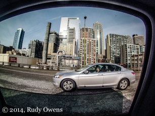 A GoPro captures the evening grind on Highway 99 past downtown Seattle (2014).