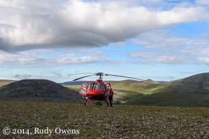 Helicopters are the primary way crews are able to explore the remote work site where Pebble is located, upstream from Lake Iliamna and Bristol Bay (2005)