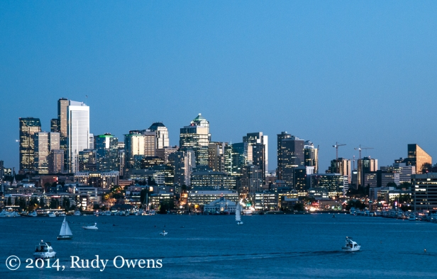 Seattle's skyline as seen from Gasworks Park in summer 2012.