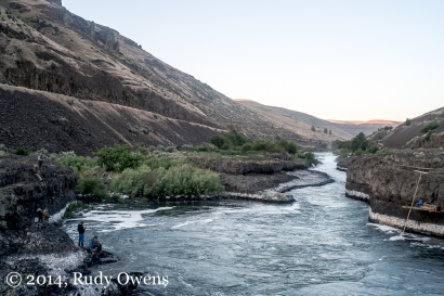 Anglers cast for spring Chinook on the Deschutes River, at a spot managed by the Warm Springs Indian Reservation (2014).