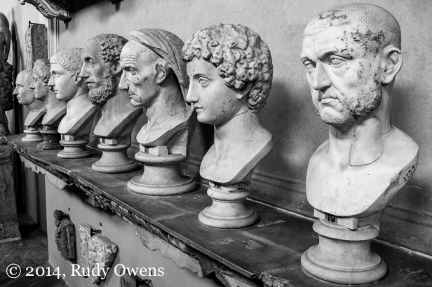 Statues of the Rome's leading citizens are on display at the Vatican Museum in Rome. There are so many lessons to be learned from the Empire that rose, and then crashed from within (well, bad plumbing, a black plague, and a few enemies also played a role). I shot this in 2006.