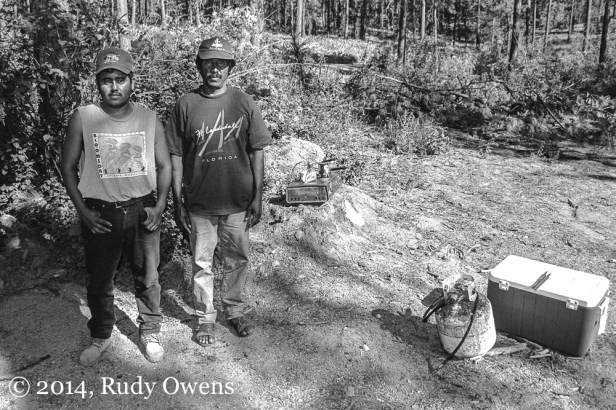 I took this photo in 1999 of cherry pickers who were living in the woods near Wenatchee.