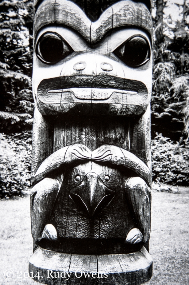 This is one of many totems at Sitka National Historic Park, in Sitka, Ak. (taken in June 2004).