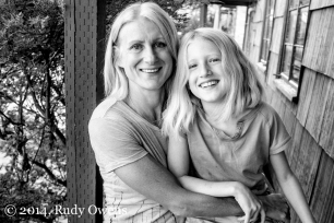 Mother and daughter, black and white portrait