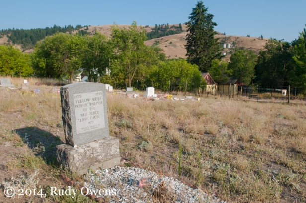 "A grave for Nez Perce warrior Yellow Wolf was erected by ""white friends"" in his honor."