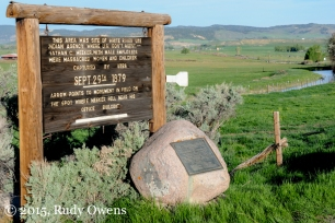 A sign along the White River in Meeker, Colorado, tells the tale of a massacre, where 11 white men were killed by Native Utes during a period of U.S. expansion onto ancestral Native lands now know as Colorado.
