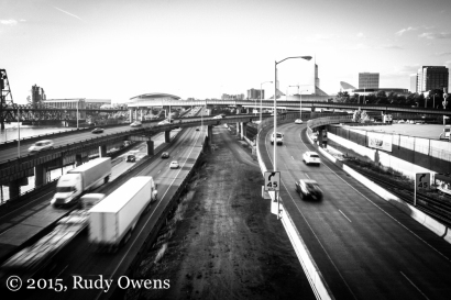 Freeways dominate the landscape on Portland's eastside. We are a true blue American city, indeed.