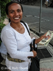 I bought all of my tickets from this great merchant I met on the streets of Ubud, Bali. We had many laughs.
