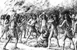 An illustration of the killing of Father Jayme