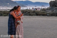 Mother and Daughter Enjoy Cannon Beach Sunset
