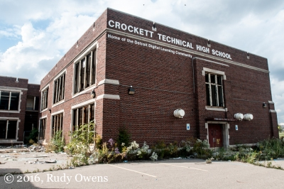 The trashed and gutted Crockett Technical High School was listed for sale in September 2015 by the Detroit Public Schools, which failed in every sense to protect the school from destruction by scrappers and vandals.