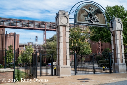 The west entrance to the Anheiser Busch factory displays the iconic Germanic eagle moniker of the King of Beers.
