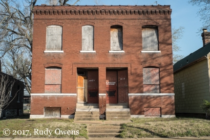 A fourplex is among many closed buildings in the blocks just off Manchester Avenue.