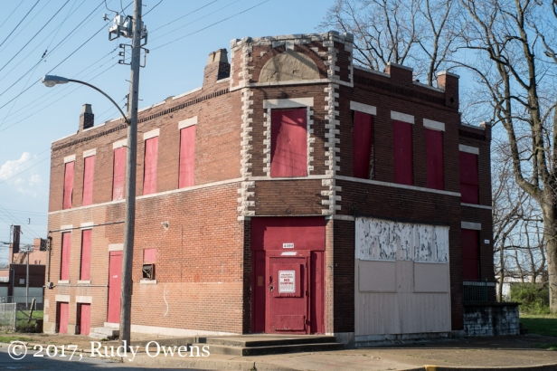 A closed building awaits an uncertain future in The Grove neighborhood.