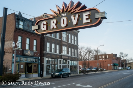 The entrance to The Grove improvement district