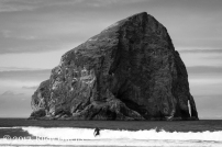A surfer finishes out a ride by Haystack Rock at Pacific City.