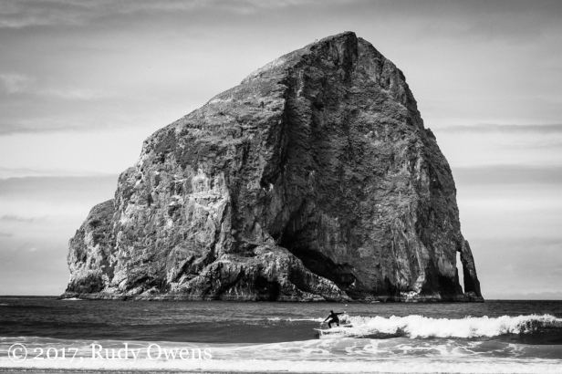 Haystack Rock is a great backdrop for suring at Pacific City.
