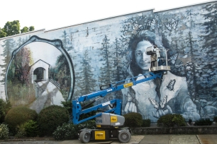 The mural of Opal Whitely in Cottage Grove was being touched up during my brief visit in early August 2017.