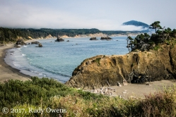 Port Orford offers a lovely cover for surfing, but not during my visit in August 2017.