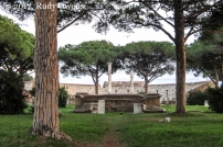 Ostia Antica, Piazzale delle Corporazione, looking towards the amphitheater.