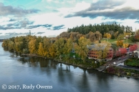 The Willamette River flows by Sellwood Riverfront Park.