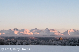 Front range of the Chugach Mountains, from Westchester Lagoon, Anchorage