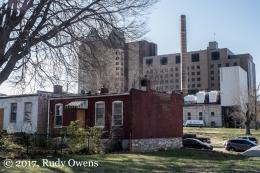 Shotgun Houses on Hickory Street and the SSM Health Saint Louis University Hospital