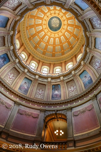 Looking up at the Capitol rotunda, in Lansing