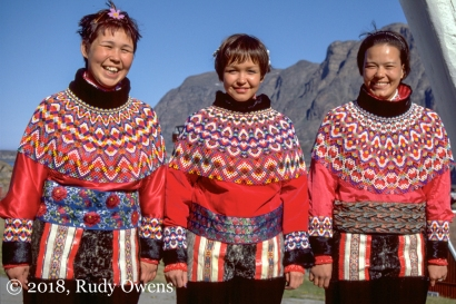 Young Greenland women wear their traditional costume in Sisimiut.