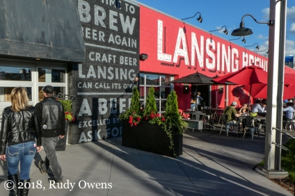 Lansing Brewing Company on a sunny night