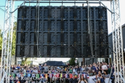 An outdoor screen was put up outside of the Toffee Club for the France-Croatia match in the 2018 World Cup final.