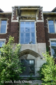 The Caroline Grossman Elementary School, built in 1911, is one of many that are closed and falling into decay in Detroit, due to population loss and the inability to maintain facilities that no longer are filled with kids.