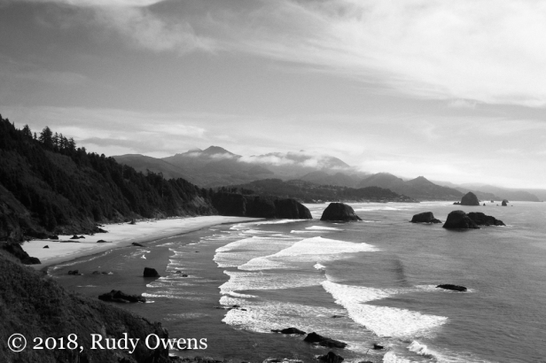 Looking south from Ecola State Bark to Cannon Beach, Oregon
